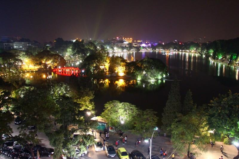Ausblick über den Hoan Kiem Lake
