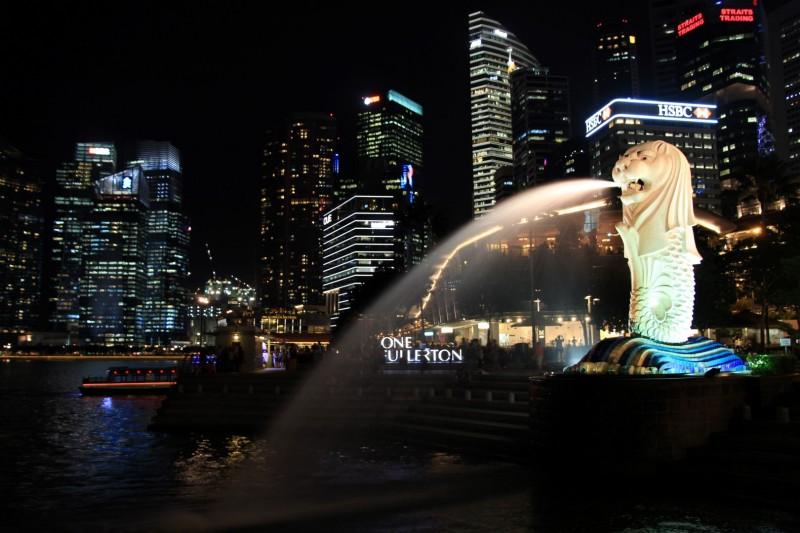 Merlion, das Wahrzeichen von Singapur (Löwe & Fisch)
