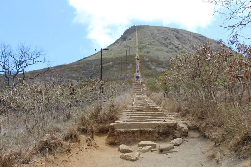 """Der Koko Head Trail führte über eine """"Treppe"""" (in Form von Eisenbahn-Schienen) auf einen Hügel. War ziemlich anstrengend, aber man wurde belohnt mit einer tiptopen Aussicht."""