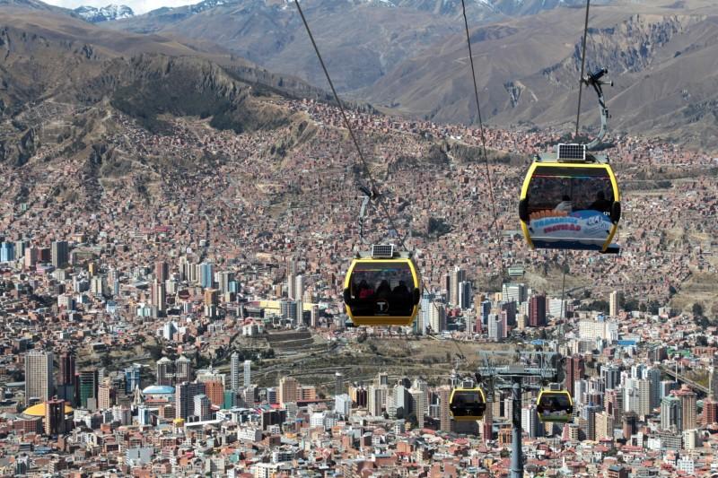 In La Paz gibt es die moderneren Gondelbahnen, als in der Schweiz