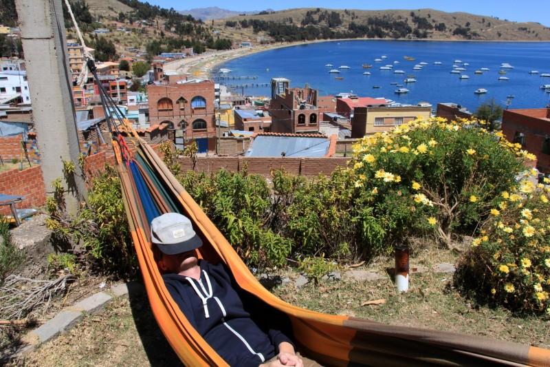 Chillen in Copacabana, ein kleines Doerfchen am Titicacasee.