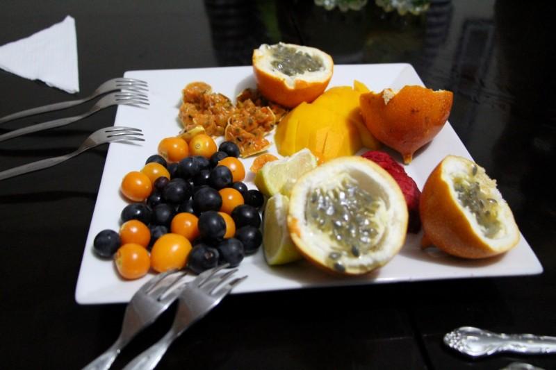 Zum Dessert gab es eine Auswahl von Peruanischen Früchten, herrlich!