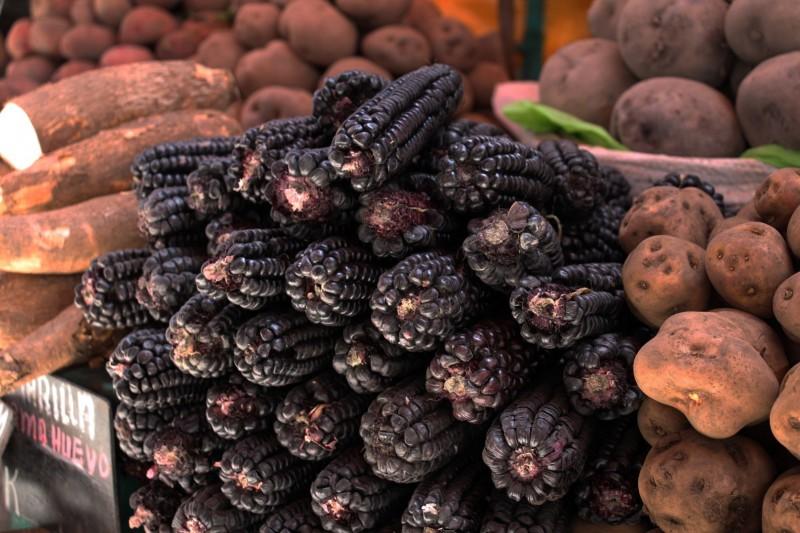 """Schwarzer Mais wird in Peru für das beliebte Getränk """"Chicha Morrada"""" verwendet"""